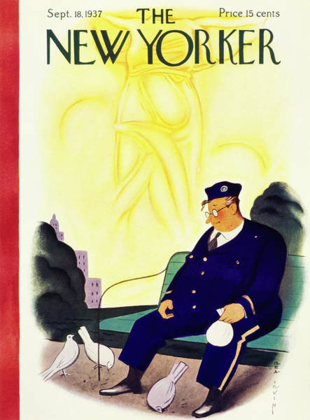 Pigeon Painting - New Yorker September 18 1937 by Rea Irvin