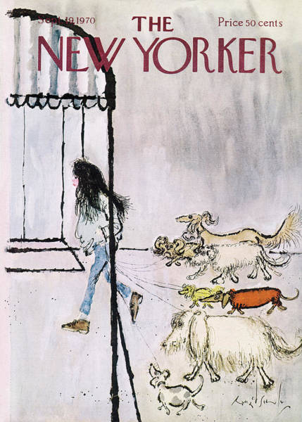 Pet Painting - New Yorker September 19th, 1970 by Ronald Searle