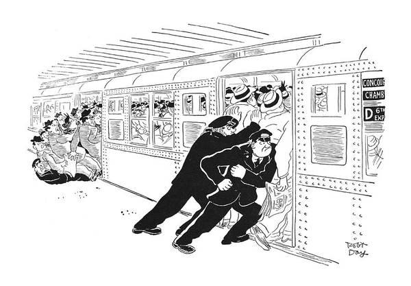 Manhattan Drawing - New Yorker September 1st, 1951 by Robert J. Day