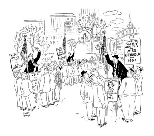 Speaker Drawing - New Yorker September 20th, 1952 by Robert J. Day