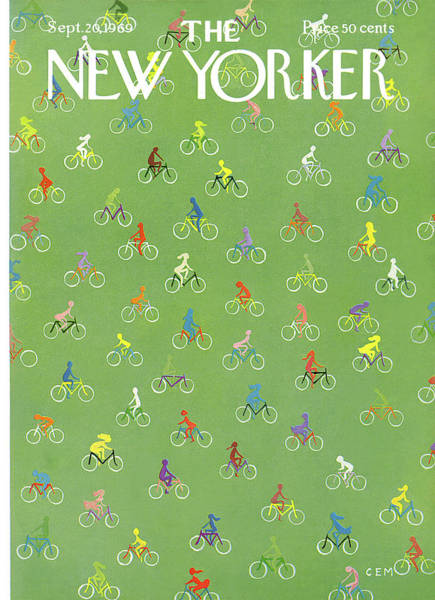 Bicycle Painting - New Yorker September 20th, 1969 by Charles E Martin