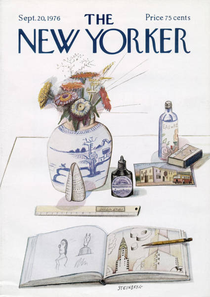 Table Painting - New Yorker September 20th, 1976 by Saul Steinberg