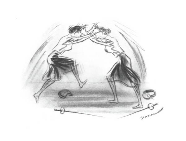 Sword Drawing - New Yorker September 21st, 1940 by Leonard Dove