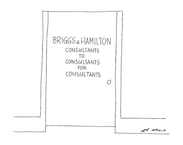 Door Drawing - New Yorker September 22nd, 1986 by Ed Arno