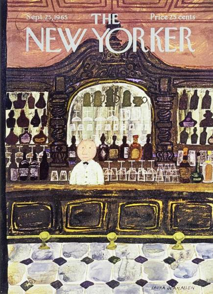 Tile Floor Painting - New Yorker September 25th 1965 by Laura Jean Allen