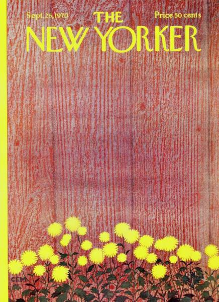 Yellow Flower Painting - New Yorker September 26th 1970 by Charles Martin