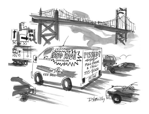 Highway Drawing - New Yorker September 27th, 1999 by Donald Reilly