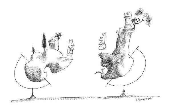 Globe Drawing - New Yorker September 28th, 1963 by Saul Steinberg