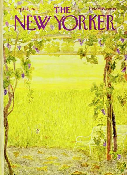 Rural Scene Painting - New Yorker September 28th 1968 by Ilonka Karasz