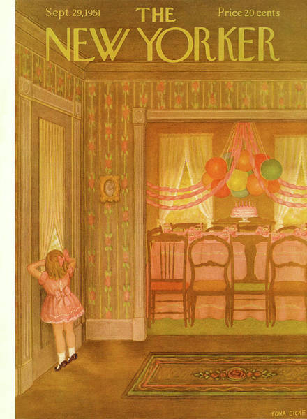 Table Painting - New Yorker September 29th, 1951 by Edna Eicke