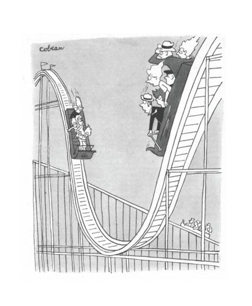 Roller Coasters Drawing - New Yorker September 2nd, 1944 by Sam Cobean