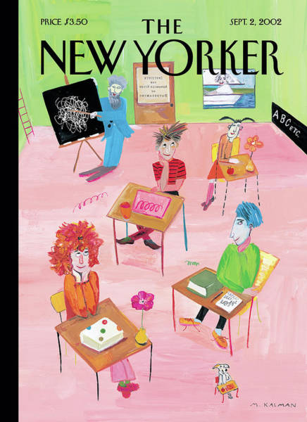 Students Painting - New Yorker September 2nd, 2002 by Maira Kalman