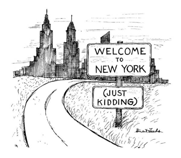 Welcome Drawing - New Yorker September 30th, 1991 by Stuart Leeds