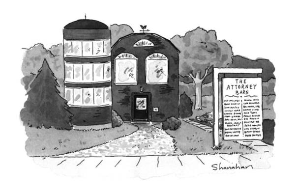 Barn Drawing - New Yorker September 30th, 1996 by Danny Shanahan