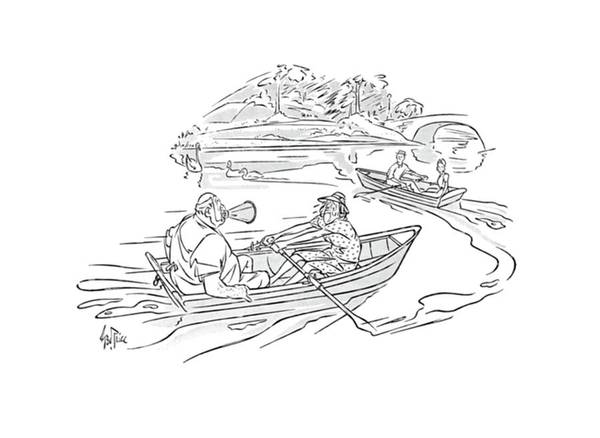 Rowing Drawing - New Yorker September 7th, 1940 by George Price