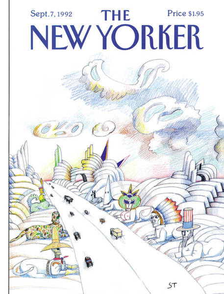 Indian Summer Painting - New Yorker September 7th, 1992 by Saul Steinberg