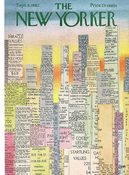 Skyscrapers Painting - New Yorker September 8th, 1962 by Charles E. Martin