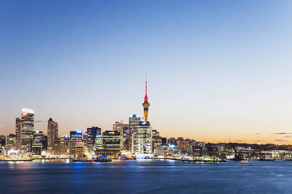 New Zealand, Auckland, Skyline With Sky Tower, Blue Hour Art Print by Westend61