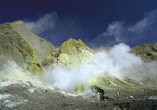 Sulphur Photograph - New Zealand, Steam And Sulfur In by Westend61