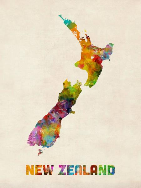 New Zealand Watercolor Map Art Print