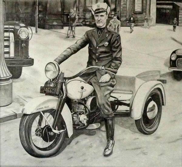Wall Art - Drawing - Newark Motor Officer by Charles Rogers