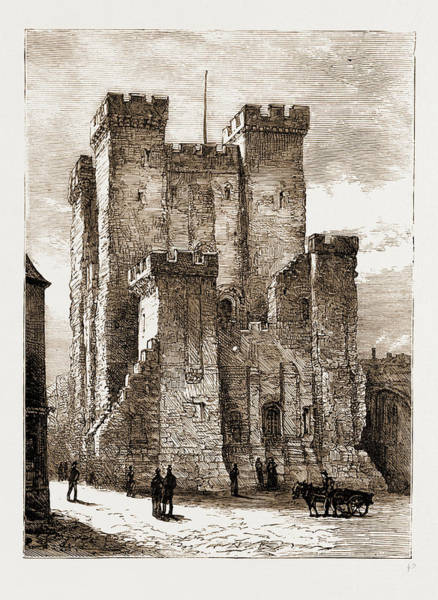 Old Style Drawing - Newcastle, Uk, 1881 The Old Castle by Litz Collection