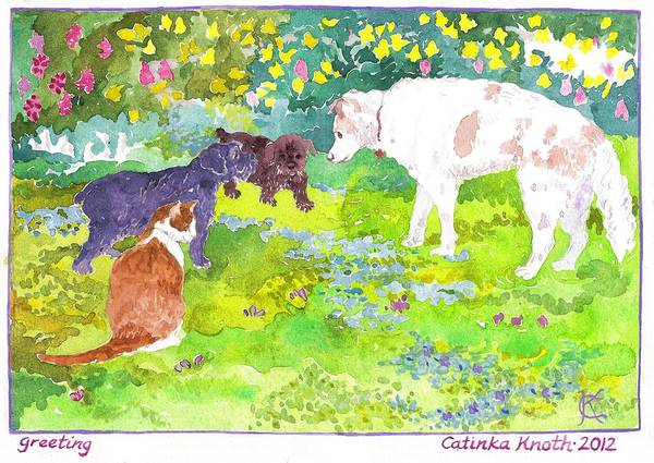 Painting - Newcomer Scottie Puppies Meet Oldtimers Dog And Cat In Spring Garden by Catinka Knoth