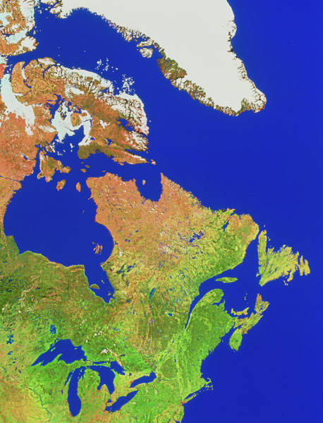 Wall Art - Photograph - Newfoundland And The Great Lakes by Worldsat International Inc./science Photo Library