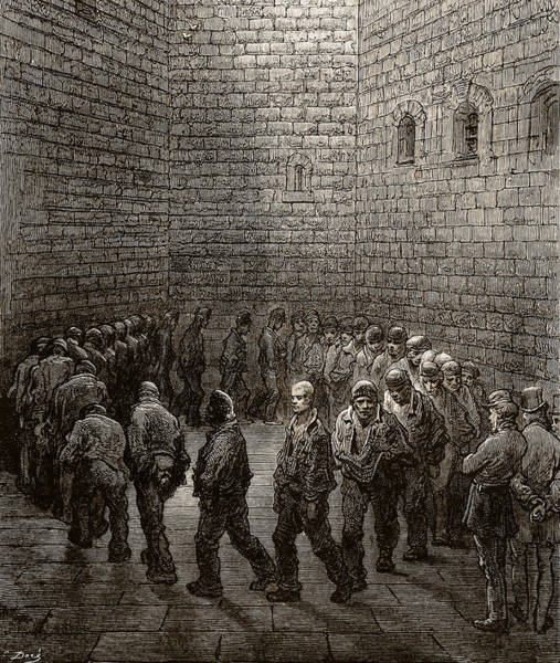 Miserable Drawing - Newgate Prison Exercise Yard by Gustave Dore