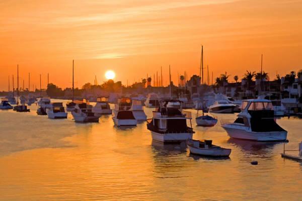Orange County Digital Art - Newport Beach Harbor At Sunset by Cliff Wassmann