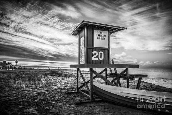 Balboa Photograph - Newport Beach Lifeguard Tower 20 Black And White Photo by Paul Velgos