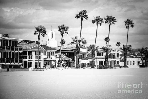 Palm House Photograph - Newport Beach Oceanfront Homes Black And White Picture by Paul Velgos