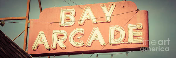 Tint Wall Art - Photograph - Newport Beach Panoramic Retro Photo Of Bay Arcade Sign by Paul Velgos