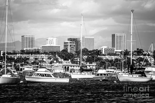 West Bay Photograph - Newport Beach Skyline Black And White Picture by Paul Velgos