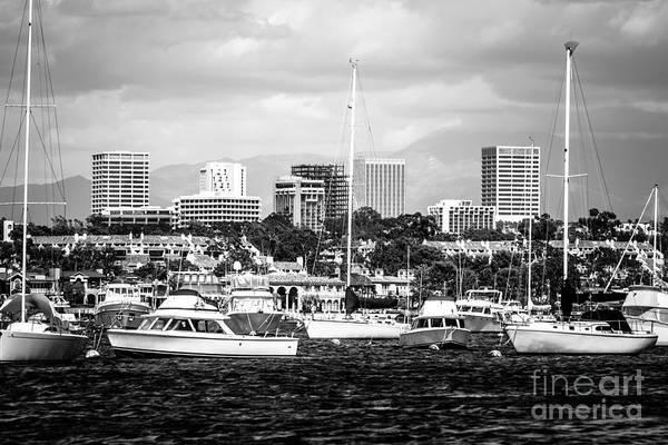 Newport Beach Skyline Black And White Picture Art Print