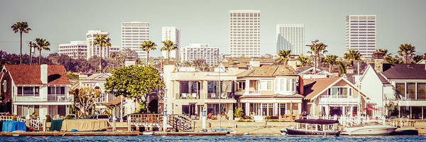 Wall Art - Photograph - Newport Beach Skyline Vintage Panorama by Paul Velgos