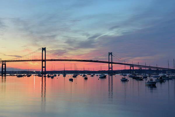 Narragansett Photograph - Newport Bridge At Sunrise by Aimintang