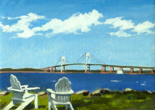 Wall Art - Painting - Newport Bridge Newport Rhode Island by Christine Hopkins