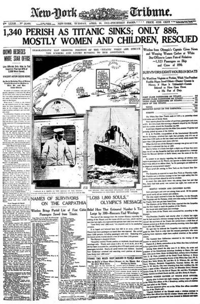 Front Page Photograph - Newspaper Report On Titanic Disaster by Library Of Congress/science Photo Library