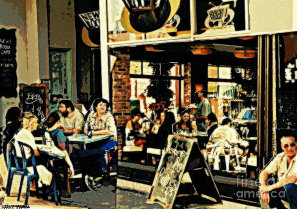Painting - Newsroom Cafe Terrace Hamburger Et Patates Fast Food Bistro Summer Montreal Cafe Scene by Carole Spandau