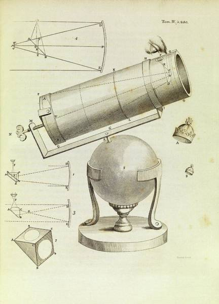 Lenses Photograph - Newton On Telescopes by Middle Temple Library