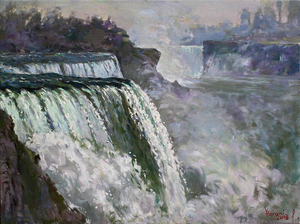 Wall Art - Painting - Niagara American Falls 2 by Ylli Haruni