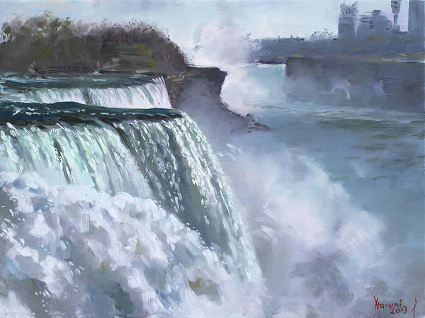 Misty Wall Art - Painting - Niagara American Falls by Ylli Haruni