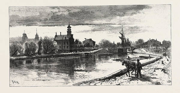Old Style Drawing - Niagara District, Thorold, On Old Welland Canal by Canadian School