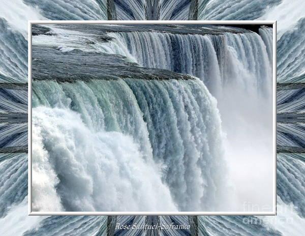 Photograph - Niagara Falls American Side Closeup With Warp Frame by Rose Santuci-Sofranko