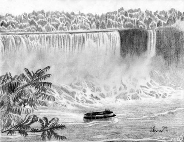 Mist Drawing - Niagara Falls And The Maid Of The Mist by Kayleigh Semeniuk