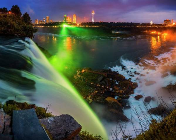 Rock Island Line Photograph - Niagara Falls At Night by Babak Tafreshi