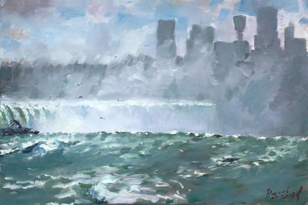Horseshoes Painting - Niagara  Falls Mist  by Ylli Haruni