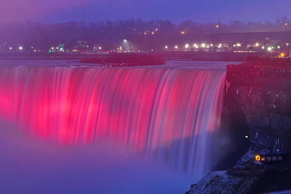 Photograph - Niagara Falls Pretty In Pink Lights. by Simply  Photos