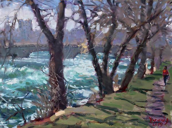 Niagara Painting - Niagara Falls River April 2014 by Ylli Haruni